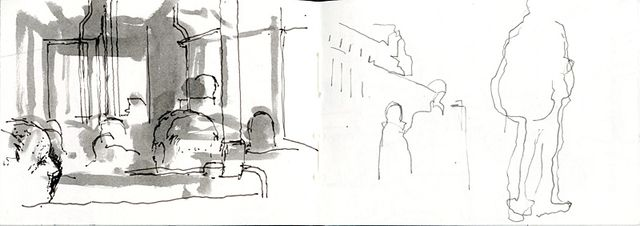 Bus interior drawing and street figures