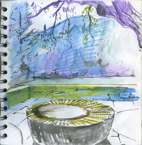 Basket seat on terrace - coloured pencil drawing