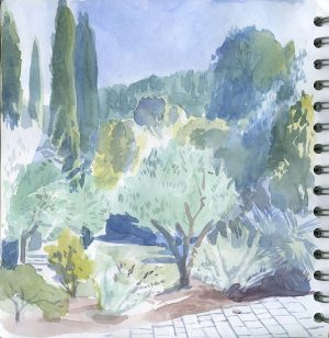 Garden view - watercolour