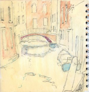 Canal View, Venice - Watercolour and pencil