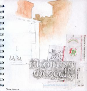 Mixed media collage and drawing - Florence Street