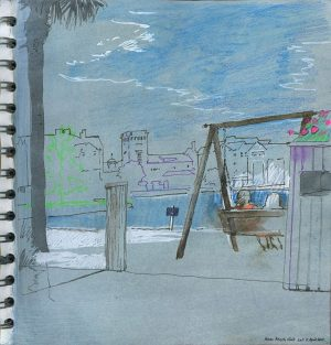 Resort Lake Beach, Mixed Media