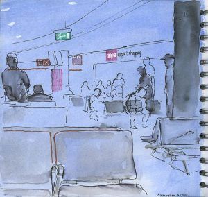 Birmingham Airport – Drawing waiting in departure lounge