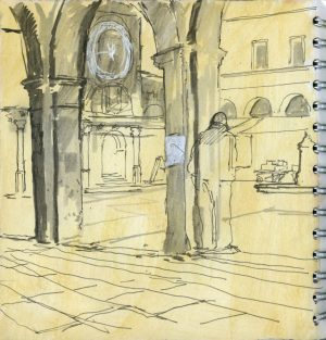Piazza, Venice. Pen and wash