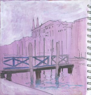 Grand Canal, Venice. Fineliner and white Posca pens